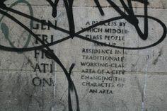 Gentrification graffiti in Bristol.