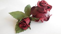 Leather rose red wine w Lela Flowers na DaWanda.com