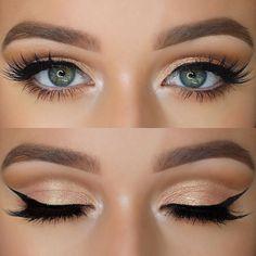 Sombras oradas para un look clásico que le va a cualquier tipo de piel. #Ojos #Sombras #MakeUp