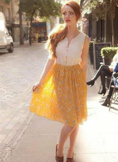 Starry Vintage inspired floral print dress yellow