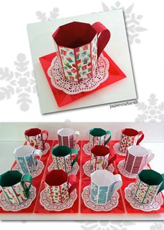 "Fun & easy-to-make Christmas treat mugs inspired by a wonderful YouTube tutorial from Traci Cornelius (""Stampin Up Video Tutorial - How to make a Paper Mug""). Fill with assorted little goodies for a whimsical holiday gift!"