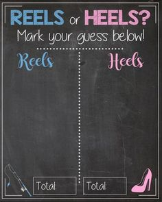 Reels or Heels Gender Reveal Guess sign. PRINTABLE baby shower chalkboard poster boy or girl