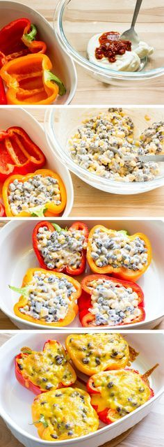 Sweet peppers with a filling of chipotle chilies, adobo sauce, sour cream, black beans, and corn; topped with cheddar cheese