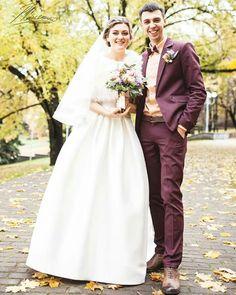 Создание и пошив не строгого свадебного образа, основа -  бордовый цвет.