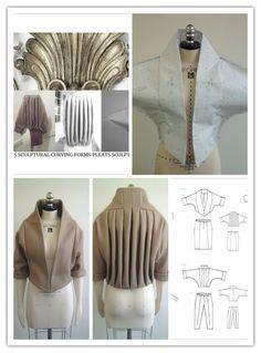 fabric manipulation shrug -gone Fashion Sewing, Diy Fashion, Fashion Outfits, Dress Sewing Patterns, Clothing Patterns, Sewing Clothes, Diy Clothes, Mode Origami, Pattern Draping