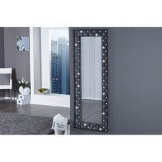 Miroir design capitonné en velours avec strass coloris argent brillant