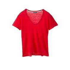 Petit Bateau US Official Online Store, PEBA-5007 Women's V-neck linen tee, petit-bateau.us