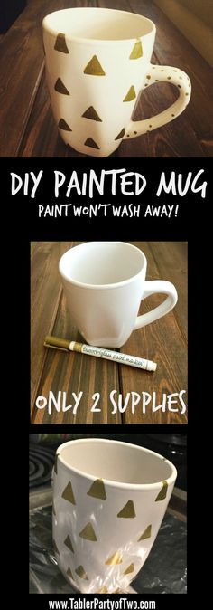 Super cute and easy DIY Painted Mug! Best of all, the paint won't wash away! Click on the image to find out how.