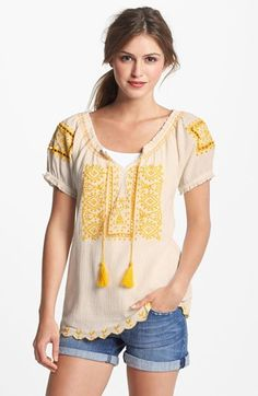 Lucky Brand 'Sofi' Embroidered Eyelet Peasant Top available at #Nordstrom
