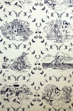 Sassy Toile @ Flavor Paper : Tasty Handscreened and Digital Wallcoverings  ocjohn.com high end real estate