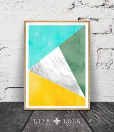 Geometric Print, Triangles Wall Art, Marble Aqua Green Yellow Decor, Printable Art, Instant Download, Modern Minimalist, Colourful Abstract