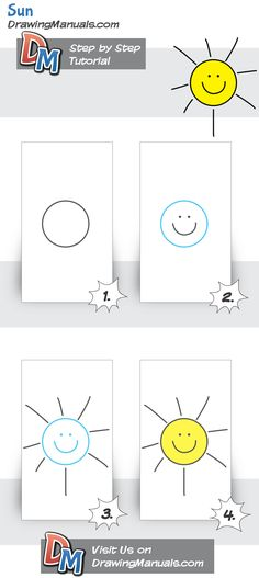 How to draw Sun, Simple Tutorial for Kids. Basic tutorials are all your kid needs when starting a drawing process. http://drawingmanuals.com/manual/how-to-draw-sun-simple-tutorial-for-kids/