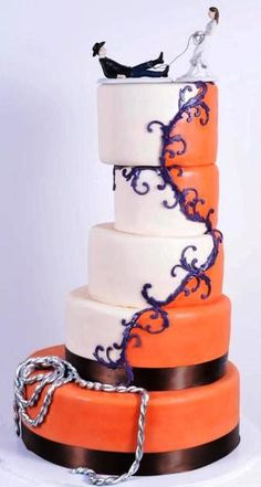 Off-balanced collection of round white and orange tiers, featuring climbing purple flourishes separating the colors. With a different topper and more purple. Possibly switch the Orange and purple. Pretty Cakes, Cute Cakes, Beautiful Cakes, Amazing Cakes, Cowgirl Cakes, Different Cakes, Oreo Cake, Take The Cake, Novelty Cakes