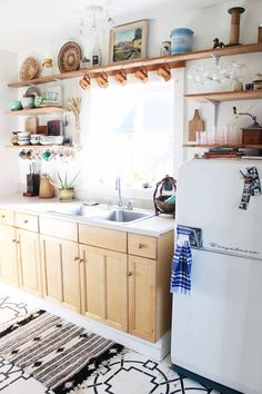Before & After: The Experimental Vintage Budget Kitchen Makeover, on Design*Sponge Boho Kitchen, Vintage Kitchen, Kitchen Dining, Kitchen Decor, Kitchen Cabinets, Hippie Kitchen, Open Kitchen, Wood Cabinets, White Cabinets