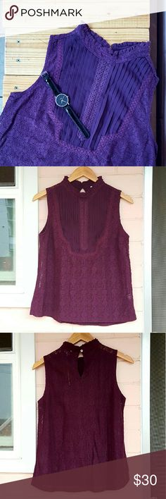 -1 day sale- S MAROON LACE TOP *maroon top (color is more like pic 2 & 3) *size small *keyhole button up in the back *brand new with tag *adorable top great for work or a night out *comes from a smoke-FREE & pet-FREE home Tops