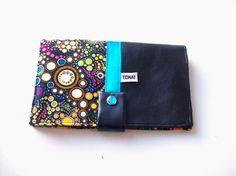 portefeuille compagnon noir et bulles multicolores,simili cuir,portefeuille porte cartes en simili cuir noir et tissu bulles pois multicolores : Porte-monnaie, portefeuilles par tchai-walla