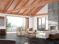 3D, CGI, interior, lounge, open plan, alpine, lodge, fire, fireplace ...