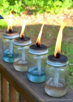 Mason jar tiki torches