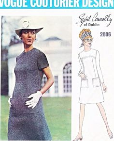 1960s MOD Sybil Connolly Dress Pattern VOGUE COUTURIER Design 2006 Jewel Neckline Easy To Wear Dress  Size 10 Vintage Sewing Pattern