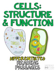 Cell Structure and Function of Cells Differentiated Nonfiction Reading Passages Science Biology, Science Lessons, Teaching Science, Cell Structure, Structure And Function, Guided Reading Levels, Differentiated Instruction, Reading Passages, Middle School Science