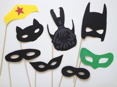 8 Superhero Photo Booth Props. $9.95, via Etsy.