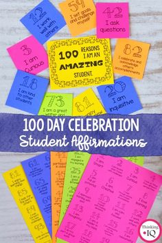 Student Positive Affirmations- 100 Day of School Activity Self Esteem Activities, Kindness Activities, Counseling Activities, School Counselor, School Teacher, Teaching Kindergarten, Teaching Ideas, Character Education, Feelings And Emotions