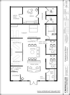 Example of achiropractic multi dr office with central waiting with childrens space semi-open adjusting rehab therapy 2456 interior net sf Office Layout Plan, Office Floor Plan, Floor Plan Layout, Office Layouts, The Plan, How To Plan, Small Office Design, Medical Office Design, Chiropractic Office Design