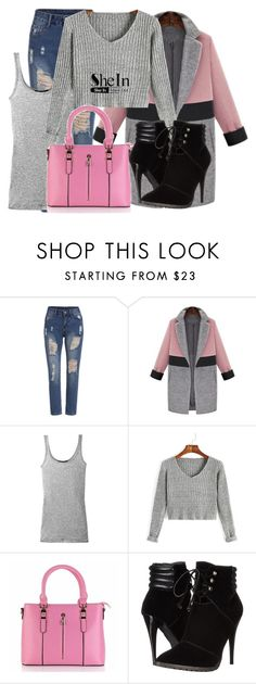 """""""Grey V Sweater SheIn"""" by snjezanamilovanovic233 ❤ liked on Polyvore featuring Vince and C Label"""