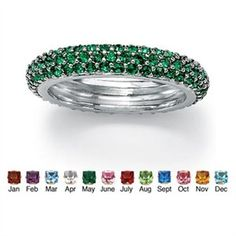 Rakuten.com - Round Pav-Set Simulated Birthstone Sterling Silver Triple-Row Eternity Band Ring- May- Simulated Emerald $39.95