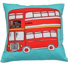 Vintage Big Red Bus Cushion
