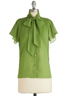 Fresh and Fluttery Top - Mid-length, Sheer, Green, Solid, Buttons, Tie Neck, Work, Short Sleeves, Exclusives, Pinup