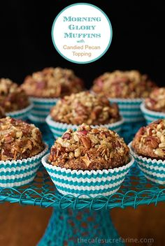 """Morning Glory Muffins with Candied Pecan Topping - this is one of those """"never-fail"""" recipes! The muffins always come up tall and pretty. I love that they're so delicious and loaded with healthy ingredients at the same time. Oh, and the candied pecan topping is totally amazing!"""