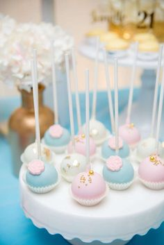 Blue Pink Gold Theme Birthday Party Ideas Cake PopsGirls