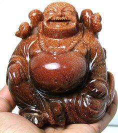 4050CTS LAUGHING BUDDHA CARVED ART SUNSTONE GEMSTONE