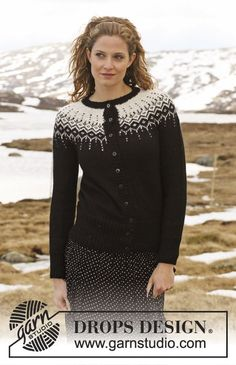 "Winter Fantasy - DROPS Jacket in ""Alpaca"" and ""Glitter"" with 2-colour pattern in round yoke. Size S to XXXL. Long socks in ""Fabel"" with the same pattern. - Free pattern by DROPS Design"