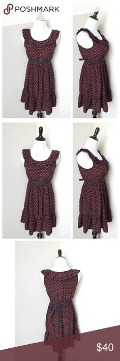 {modcloth} ruffled patterned dress An adorable and sweet ruffled patterned dress from Modcloth  Comes with a sash that you can tie to accentuate your waist  Size small Brand new- No tags, But comes with an extra button attached ModCloth Dresses