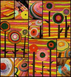 Hundertwasser (Austrian artist) obsessed with spirals.I like the yarn spirals. Classroom Art Projects, School Art Projects, Art Classroom, Kandinsky, Yarn Painting, 6th Grade Art, Ecole Art, Art Lessons Elementary, Preschool Art