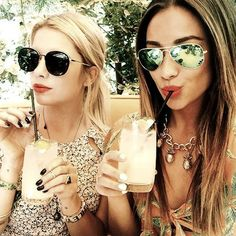 Ashley Benson and Shay Mitchell enjoying some refreshing drinks with their favorite pairs of shades. Rock the celebrity look with square and aviator sunglasses from GotShades.com. #celebrityshades #squaresunglasses #aviators #fashionsunglasses #GotShades