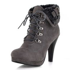 Pretty Lace-Up With Buckle Stiletto Heel Short Boots Ankle Boots Platform Ankle Boots, Platform High Heels, High Heels Stilettos, High Heel Boots, Heeled Boots, Stiletto Heels, Boots For Short Women, Short Boots, Ankle Booties