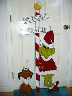 HAND MADE, PAINTED GRINCH AND MAX CHRISTMAS YARD ART DECORATION