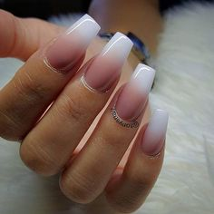 NAIL TRENDS | Pink Ombre SNS Nails with French White Tip | For more nail inspiration visit www.dontsweatthestewardess.com