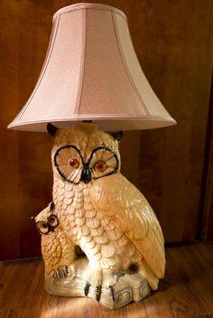 Vintage Owl Lamp | Flickr – Compartilhamento de fotos! Owl Lamp, Vintage Owl, Old And New, Owls, Childhood, Bedroom, Home Decor, Chandeliers, Lamp Shades