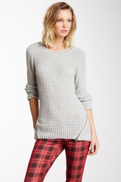 Metallic Waffle Knit Zip Sweater