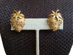 Your place to buy and sell all things handmade 50s Vintage, Summer Jewelry, Gold Texture, Clip On Earrings, Summer Fun, Fill, Strawberry, Crown, Metal