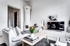A cool open space Scandi apartment with a dreamy kids room (Daily Dream Decor) Scandi Living Room, Living Spaces, Scandinavian Apartment, Scandinavian Interior, Gravity Home, Cozy Fireplace, Dream Decor, Kids Room, New Homes