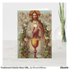 Traditional Catholic Mass Offering Sacred Heart Card Catholic Funeral, Catholic Mass, Roman Catholic, Angel Flowers, Heart Cards, Sacred Heart, Custom Greeting Cards, Vintage Images, Thoughtful Gifts