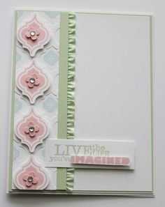 handmade greeting card ... pale pastels ... pink, blue and green ...  like the three are the  depth of color and thus work so well together ... lefthand column with stamps, punch & embossing folder of the Mosaic Madness Suite ... beautiful card!! ... Stampin' Up!