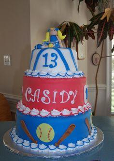 Cheerleading and softball birthday cake
