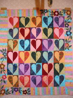 Quilted WallhangingBatiksHeartsMetallic Thread by QuiltedbyJulie