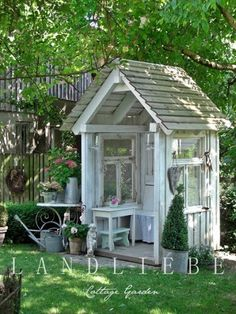 Garden Shed - made from salvaged windows - via LANDLIEBE Cottage Garden Outdoor Rooms, Outdoor Gardens, Outdoor Living, Garden Buildings, Garden Structures, Garden Cottage, Home And Garden, Backyard Cottage, Greenhouse Shed